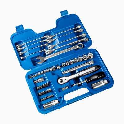 Topnøglesæt med bits og gaffelnøgler, 51 dele
