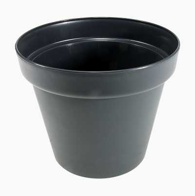 FLOWER POT PLASTIC BLACK 19CM