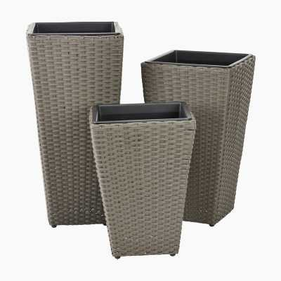 RATTAN FLOWER POT GREY L