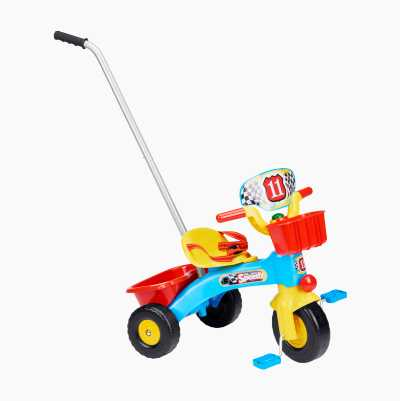 PLASTIC TRICYCLE W HANDLE BLUE