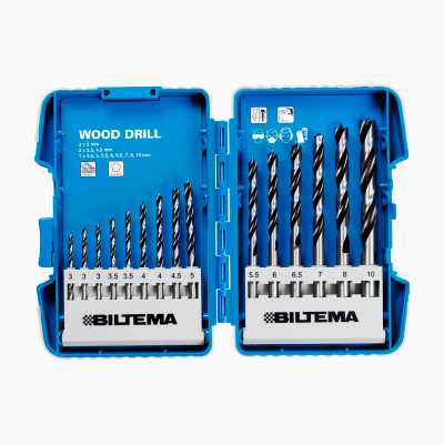 WOOD DRILL SET 15 PCS 3-10MM