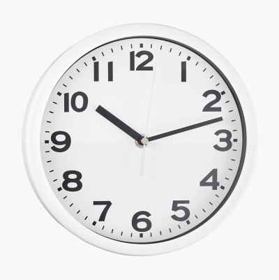 WALL CLOCK METAL WHITE