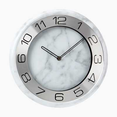 WALL CLOCK WHITE MARBLE