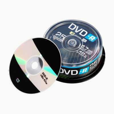 DVD+R-SKIVER 16X 25 STK