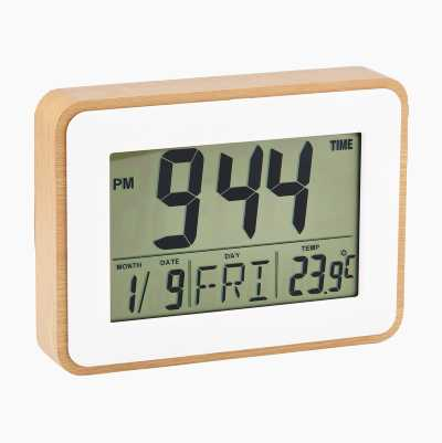 WOODEN CLOCK AND THERMOMETER