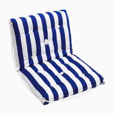 SEATCUSHION DOUBLE BLUE/WHITE