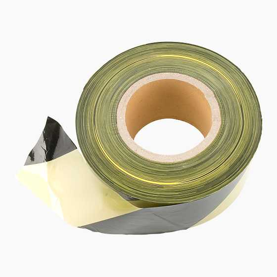 WARNINGTAPE BLACK/YELLOW 500M.