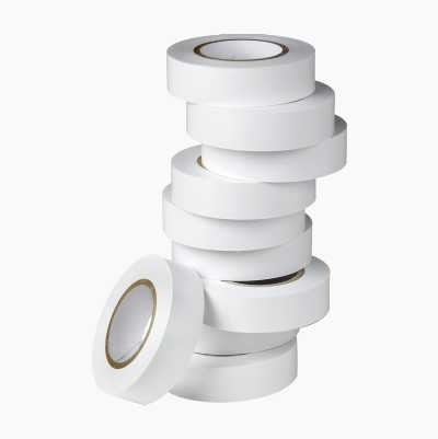 PVC-TAPE WHITE 10PCS 15MMX10M