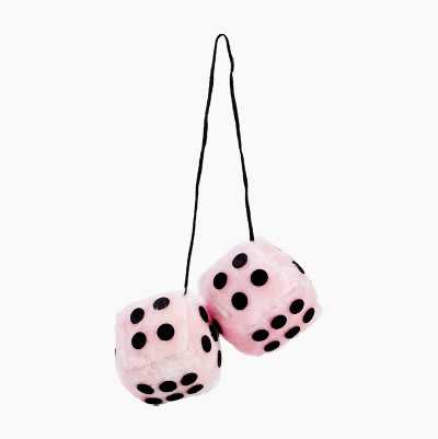 FUZZY DICE MINI ROSA 7 X 7