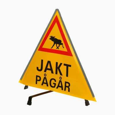 """VARNINGSTRIANGEL """"JAKT PÅGÅR"""""""