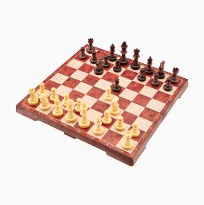 2 IN 1 IMITATION WOOD CHESS
