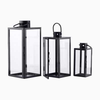 LANTERNS METALL 3-P BLACK