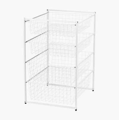 WIRE STORAGERACK 45CM 4 DRAWER