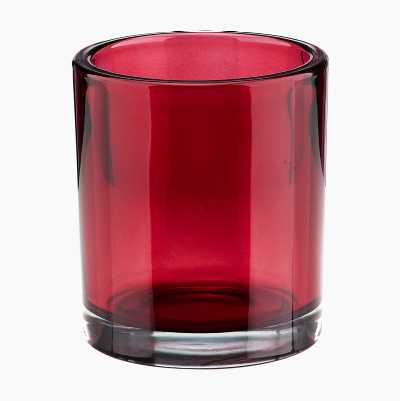 GLASS CANDLEHOLDER LARGE RED A