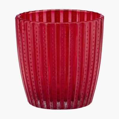 Glass Candl Holder Dark Red H7