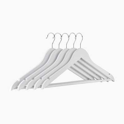 WOODEN CLOTH HANGERS WHITE 5P