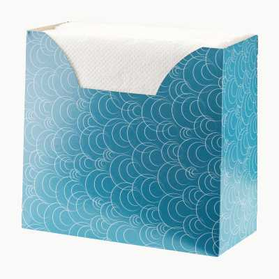 NAPKIN BOX 75P TURQUOSE CIRCLE