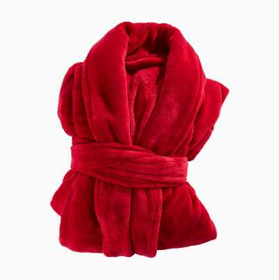 BATHROBE PLAIN RED S/M 100%POL