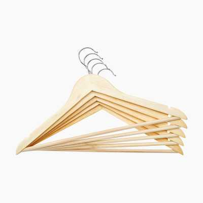 WOODEN CLOTHES HANGERS 5PACK
