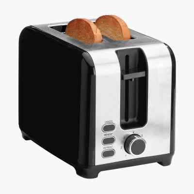 TOASTER 2 SLICES BLACK WITH ST