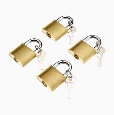 PADLOCK 4PCS BRASS 8KEYS