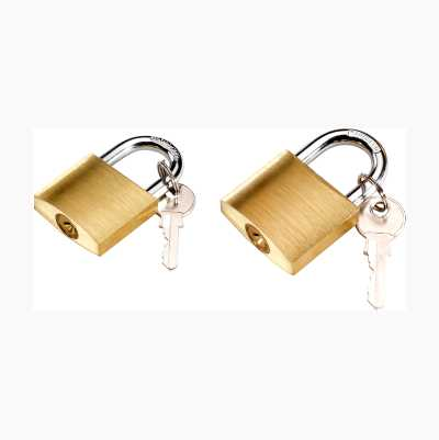 PADLOCK 2PCS BRASS 4KEYS