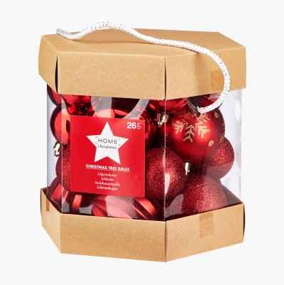 CHRISTMAS BALLS 26-P RED