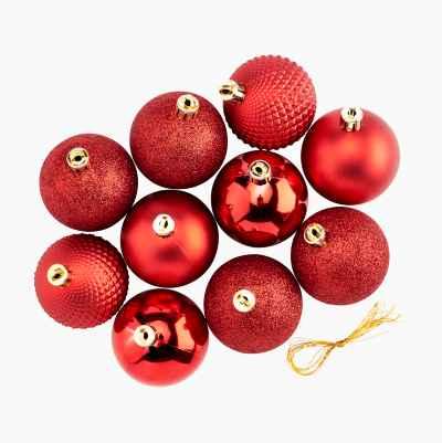 CHRISTMAS BALLS 10-P RED