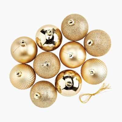 CHRISTMAS BALLS 10-P GOLD