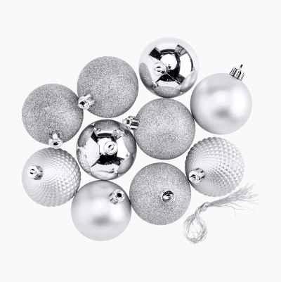 CHRISTMAS BALLS 10-P SILVER