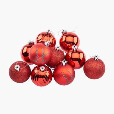 CHRISTMAS BALLS RED 10P