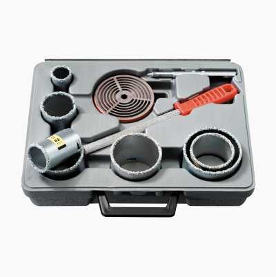 Hole-drilling kit for tiling