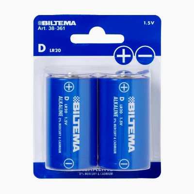 D/LR20 Alkaline Batteries, 2-pack