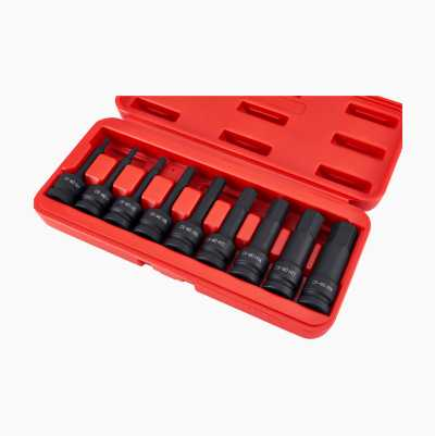 Impact Socket Set, Hexagonal, 9 pcs.