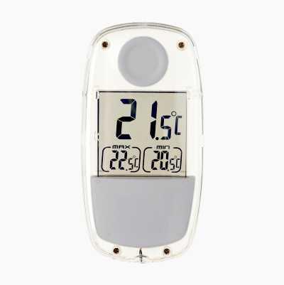 Solcellsdriven fönstertermometer