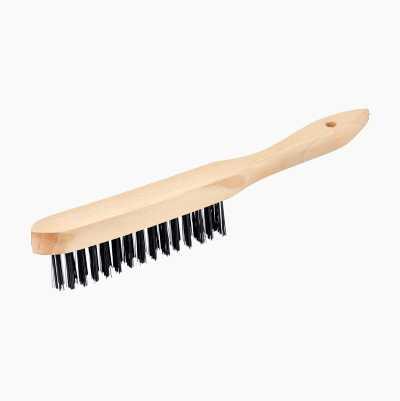 Stålborste med trähandtag
