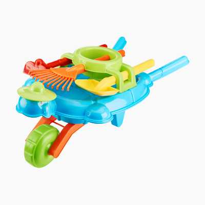 Toy wheelbarrow with tools