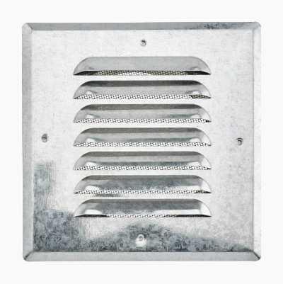 Ventilationsgitter, studstilslutning, kvadratisk