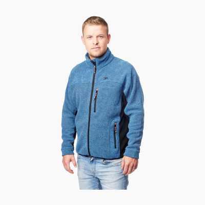 Vapaa-ajan takki raidoitettua fleeceä, sininen