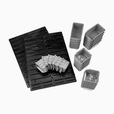 Walls panels with assortment bins