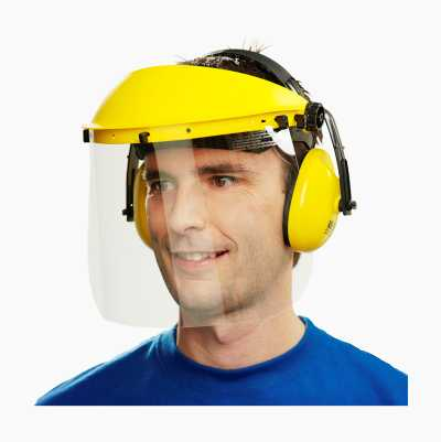 Face shield with visor and hearing protection