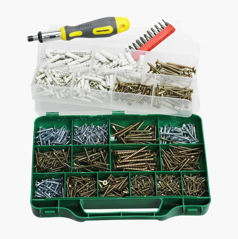 Screw and plug set, 1000 parts