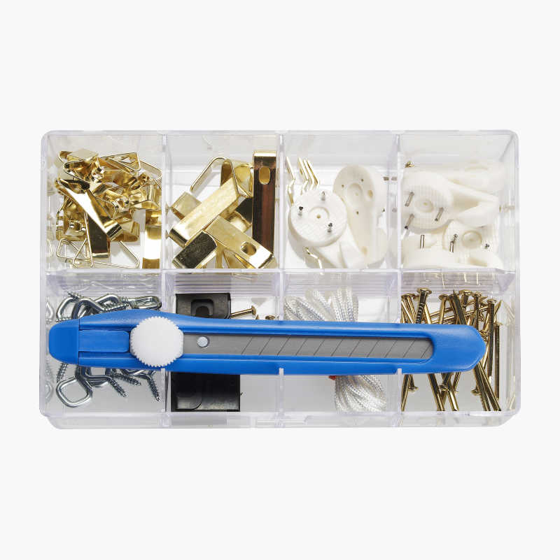 Picture hanger kit, 108 parts