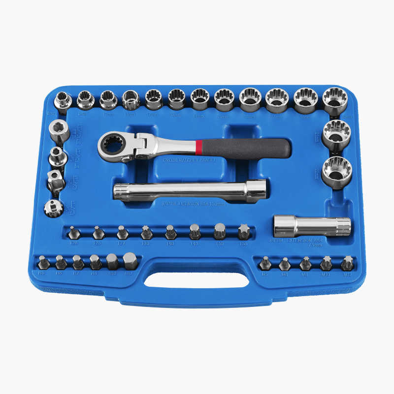 Socket and Spanner Set, open drive, 40 parts