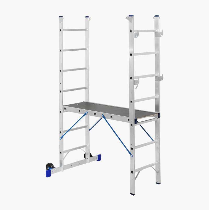 Combination ladder with platform