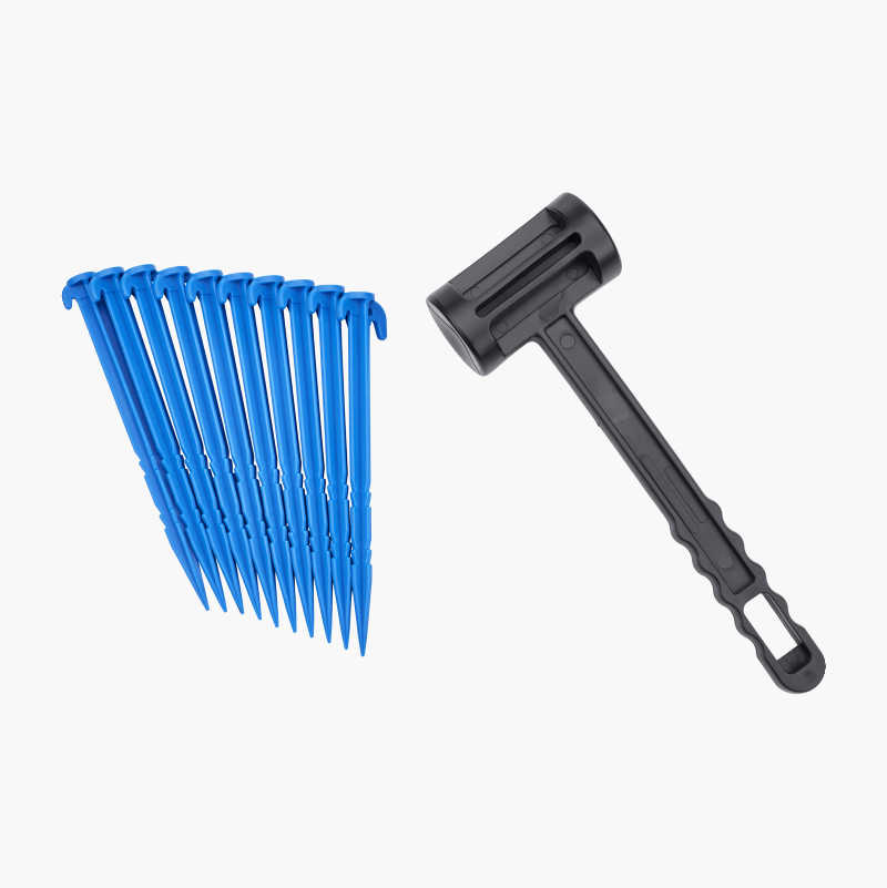Plastic mallet with 10 tent pegs