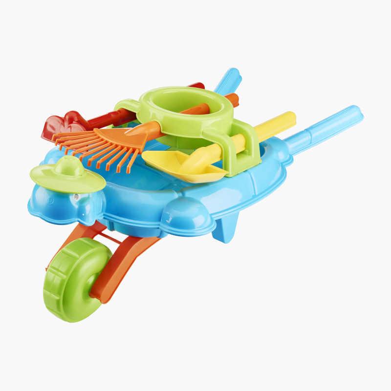 Toy wheelbarrow with tools