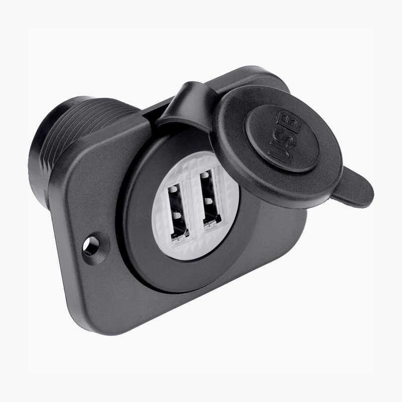 Dubbel USB laddare för Bil, Båt och Motorcykel med Voltmätare