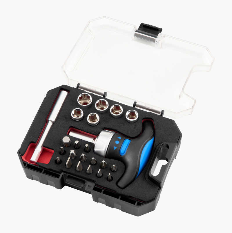Socket and Bit Set with T-Ratchet, 24 parts