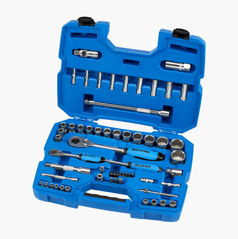 "Socket spanner set 1/4"" and 1/2"", 59 parts"